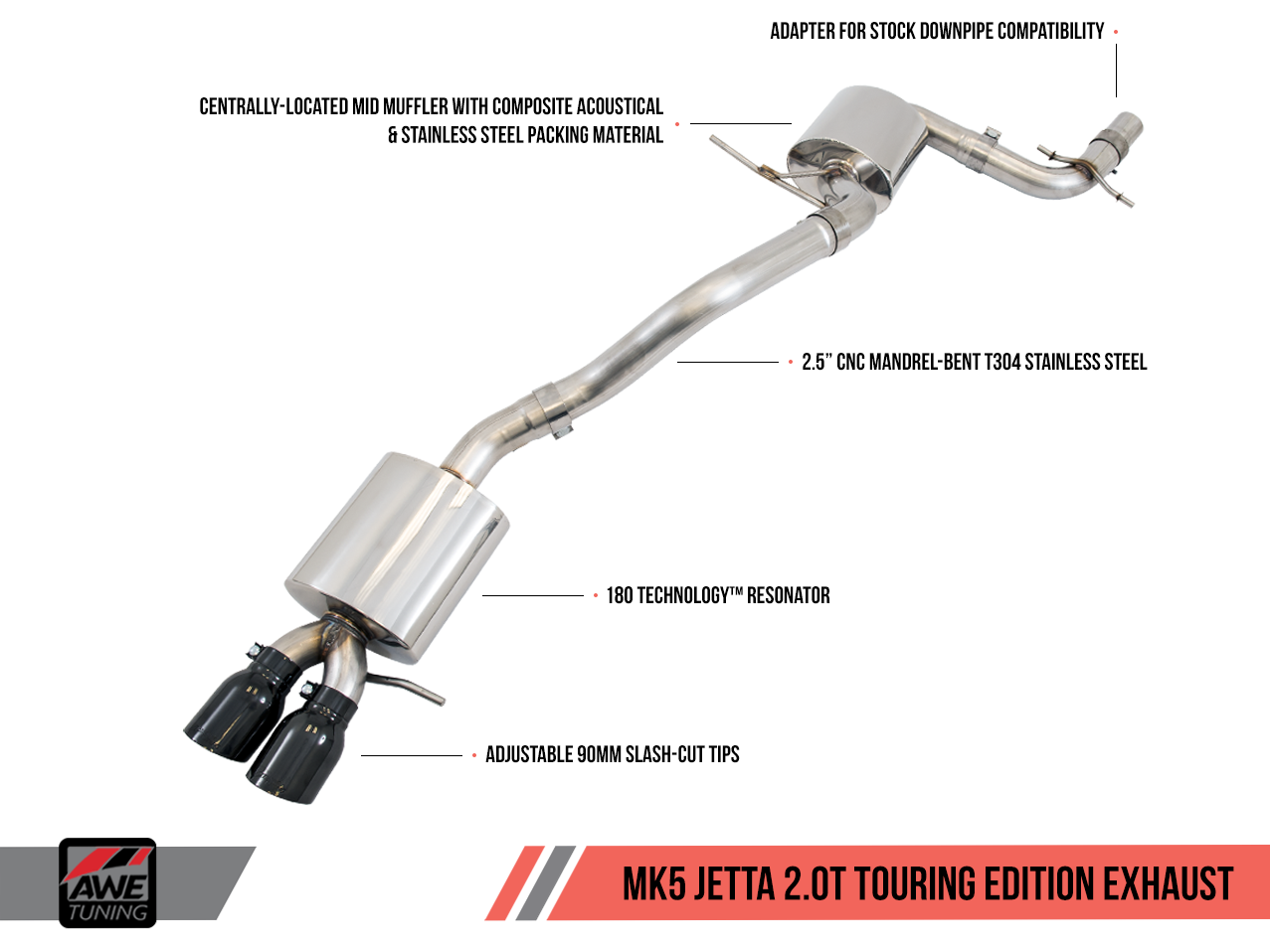 AWE Tuning Mk5 Jetta 2.0T Performance Exhaust Suite